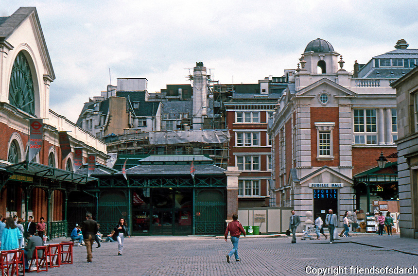 London: Covent Garden, 1987. Looking to SE Corner, London Transport Museum to left; to right, corner of Jubilee Hall (1903, but just this week, Aug. '87--renovated and opened by the green.