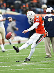 Miami Hurricanes kicker Jake Wieclaw (40) practices kicking before the 2010 Hyundai Sun Bowl football game between the Notre Dame Fighting Irish and the Miami Hurricanes at the Sun Bowl Stadium in El Paso, Tx. Notre Dame defeats Miami 33 to 17....