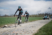 Luke Rowe (GBR/SKY) on sector 4: Carrefour de l'Arbre (2.1km)<br /> <br /> recon of the 114th Paris - Roubaix 2016