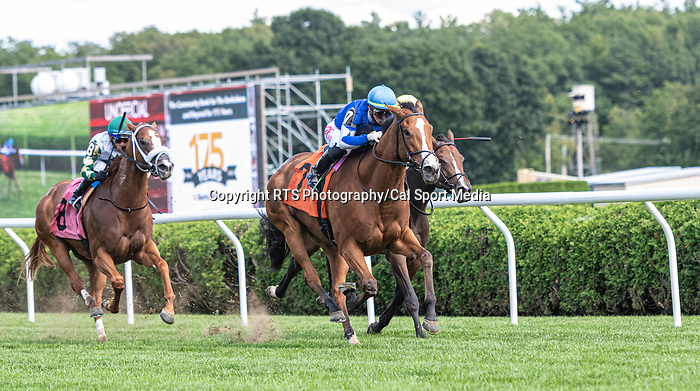 09042021:#7 Risky Mischief ridden by Irad Ortiz Jr. wins the 4th race onThe JOCKEY GOLD CUP day at Saratoga<br /> Robert Simmons/Eclipse Sportswire