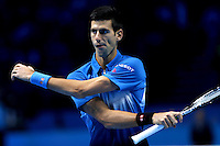 Novak Djokovic of Serbia walks onto court at the ATP World Tour Finals, The O2, London, 2015
