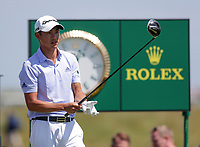 16th July 2021; Royal St Georges Golf Club, Sandwich, Kent, England; The Open Championship Tour Golf, Day Two; Collin Morikawa (USA) prepares to hit his driver from the tee at the 17th hole