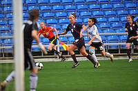 Lauren Cheney sets up to cross the ball. The USA captured the 2010 Algarve Cup title by defeating Germany 3-2, at Estadio Algarve on March 3, 2010.