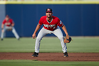 Carolina Mudcats first baseman Noah Campbell (8) on defense against the Kannapolis Cannon Ballers at Atrium Health Ballpark on June 10, 2021 in Kannapolis, North Carolina. (Brian Westerholt/Four Seam Images)