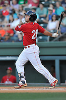 Second baseman Chad De La Guerra (20) of the Greenville Drive bats in a game against the Columbia Fireflies on Saturday, April 23, 2016, at Fluor Field at the West End in Greenville, South Carolina. Columbia won, 7-3. (Tom Priddy/Four Seam Images)