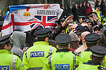 © Joel Goodman - 07973 332324 - all rights reserved . 31/10/2009 . Leeds , UK . The SDL ( Scottish Defence League ) - an offshoot of the English Defence League - hold a demonstration in Glasgow City Centre , opposed by various anti-fascist groups including Unite Against Fascism . Photo credit : Joel Goodman