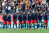 FOXBOROUGH, MA - SEPTEMBER 18: New England Revolution starting eleven before a game between Columbus Crew and New England Revolution at Gillette Stadium on September 18, 2021 in Foxborough, Massachusetts.