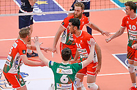 Iranian Javad Karimisouchelmaei of Maaseik  pictured celebrating with teammates during a Volleyball game between Knack Volley Roeselare and Greenyard Maaseik , the third game in a best of five in the play offs in the 2020-2021 season , saturday 10 th April 2020 at the Schiervelde international Sportshall in Roeselare  , Belgium  .  PHOTO SPORTPIX.BE   DAVID CATRY