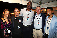 NEW YORK, NY - SEPTEMBER 26, 2021 Hugh Evans, Dikembe Mutombo & Bill De Blasio and guests backstage during Global Citizen Live, in Central Park on September 26, 2021 in New York City. Photo Credit: Walik Goshorn/Mediapunch