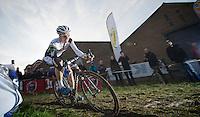 Niels Albert (BEL) commiting to the rut<br /> <br /> Vlaamse Druivencross Overijse 2013