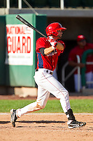 Anthony Bemboom (12) of the Orem Owlz follows through on his swing against the Billings Mustangs at Brent Brown Ballpark on July 22, 2012 in Orem, Utah.  The Mustangs defeated the Owlz 13-8.  (Brian Westerholt/Four Seam Images)