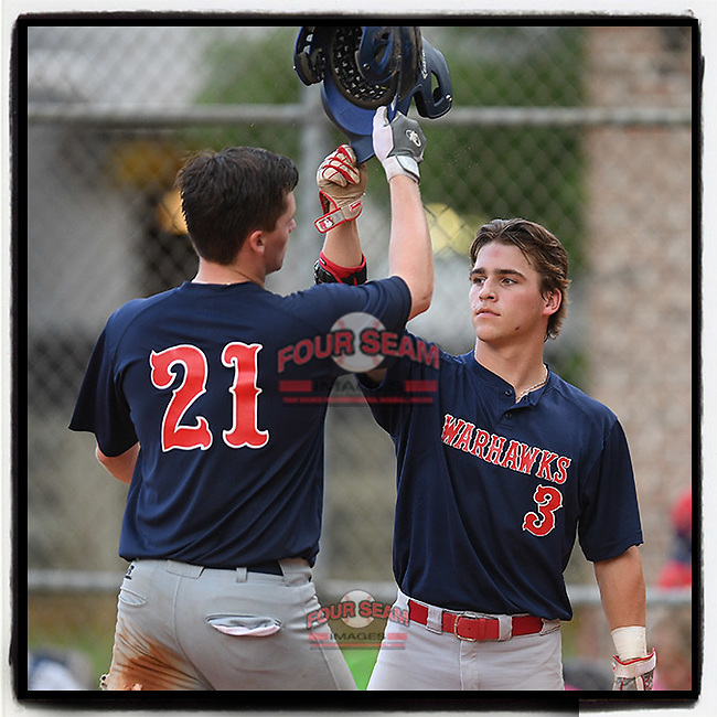 Center fielder Collin Fowler (21) of the Greer Warhawks is greeted by Will Baumhofer after hitting a home run in a South Carolina American League game on Monday, July 27, 2020, at Shoeless Joe Jackson Memorial Park in Greenville, South Carolina. Greer won, 13-0. (Tom Priddy/Four Seam Images)