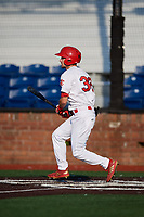 Johnson City Cardinals right fielder Brandon Riley (32) follows through on a swing during a game against the Danville Braves on July 29, 2018 at TVA Credit Union Ballpark in Johnson City, Tennessee.  Johnson City defeated Danville 8-1.  (Mike Janes/Four Seam Images)