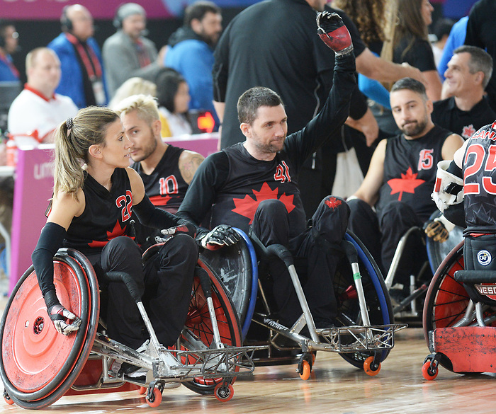 Melanie Labelle and Eric Rodrigues, Lima 2019 - Wheelchair Rugby // Rugby en fauteuil roulant.<br /> Canada takes on the USA in wheelchair rugby // Le Canada affronte les États-Unis au rugby en fauteuil roulant. 27/08/2019.