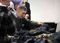 Pictured: Coats collected by people that were donated for Give A Jack a Jacket Tuesday 29 November 2016<br />Re: Soup kitchen for homeless people organised by Swansea City FC and Woolwich at the Liberty Stadium, Wales, UK