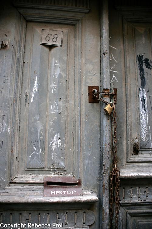 Old door in the Fener-Balat neighbourhood, Istanbul, Turkey
