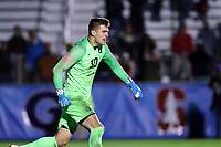 CARY, NC - DECEMBER 15: Tomas Romero #30 of Georgetown University reacts after making the championship winning save in the penalty kick shootout during a game between Georgetown and Virginia at Sahlen's Stadium at WakeMed Soccer Park on December 15, 2019 in Cary, North Carolina.