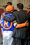 Jockey John Velasquez and Uncle Mo owner Mike Repole at Aqueduct Race Track in Ozone Park, New York on April 9, 2011.