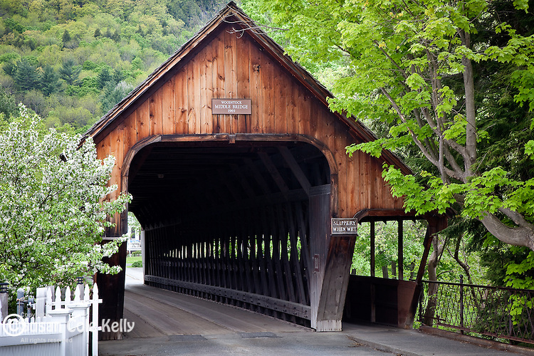 Middle Bridge over the Ottaquechee River in Woodstock, VT, USA