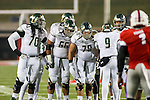 South Florida Bulls offensive lineman Quinterrius Eatmon (70), South Florida Bulls offensive lineman Brynjar Gudmundsson (66), South Florida Bulls center Austin Reiter (78) and South Florida Bulls quarterback Quinton Flowers (9) in action during the game between the South Florida Bulls and the SMU Mustangs at the Gerald J. Ford Stadium in Fort Worth, Texas. SMU leads USF 13 to 0 at halftime.