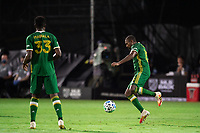 LAKE BUENA VISTA, FL - AUGUST 11: Chris Duvall #15 of the Portland Timbers dribbles the ball during a game between Orlando City SC and Portland Timbers at ESPN Wide World of Sports on August 11, 2020 in Lake Buena Vista, Florida.