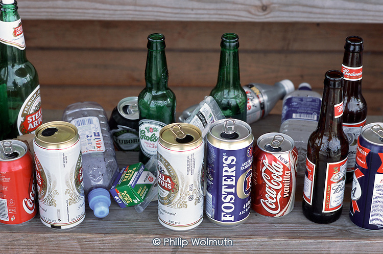 Empty bottles and cans at Epsom Downs racecourse after Derby Day.