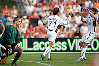 2005 Hall of Fame inductee Fernando Clavijo celebrates scoring in the 37th minute with Kyle Beckerman in the Hall of Fame game that was played after the National Soccer Hall of Fame induction ceremony. Wright Soccer Campus, Oneonta, NY, on August  29, 2005.