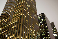 Soft Focus/Defocused View of Illuminated Office Buildings at Dusk, Sixth Avenue, Midtown Manhattan, New York City, New York State, USA
