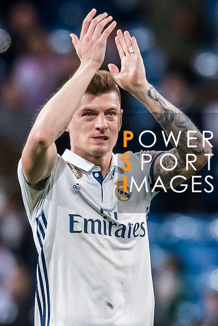 Toni Kroos of Real Madrid celebrates during their La Liga match between Real Madrid and Real Betis at the Santiago Bernabeu Stadium on 12 March 2017 in Madrid, Spain. Photo by Diego Gonzalez Souto / Power Sport Images