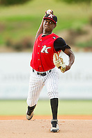 Kannapolis Intimidators starting pitcher Euclides Leyer (26) in action against the Rome Braves at CMC-Northeast Stadium on August 5, 2012 in Kannapolis, North Carolina.  The Intimidators defeated the Braves 9-1.  (Brian Westerholt/Four Seam Images)