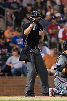 Home plate umpire Adam Beck calls a strike during the Fall Stars game at Surprise Stadium on November 3, 2018 in Surprise, Arizona. The AFL West defeated the AFL East 7-6 . (Zachary Lucy/Four Seam Images)