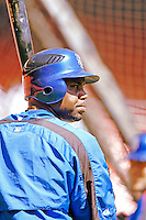 11 April 2006: Cliff Floyd, left fielder for the New York Mets, awaits his turn in the batting cage prior to the Washington Nationals' Home Opener at RFK Stadium, in Washington, DC. The Mets defeated the Nationals 7-1 to maintain their lead in the NL East...Mandatory Photo Credit: Ed Wolfstein Photo..