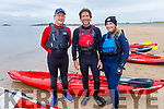 Maurice Carroll, John and Caoimhe Edwards at the fund raising swim for the Cardiac unit at Kerry University Hospital from Derrymore to Fenit on Saturday.