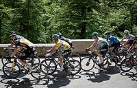 yellow jersey / GC leader Lukas Pöstlberger (AUT/BORA - hansgrohe) up the Col de Porte<br /> <br /> 73rd Critérium du Dauphiné 2021 (2.UWT)<br /> Stage 6 from Loriol-sur-Drome to Le Sappey-en-Chartreuse (167km)<br /> <br /> ©kramon