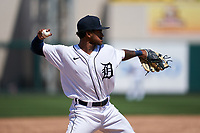 Detroit Tigers third baseman Dane Myers (51) throws to first base during a Minor League Spring Training game against the Baltimore Orioles on April 14, 2021 at Joker Marchant Stadium in Lakeland, Florida.  (Mike Janes/Four Seam Images)