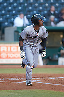 Manuel Geraldo (26) of the Augusta GreenJackets hustles down the first base line against the Greensboro Grasshoppers at First National Bank Field on April 10, 2018 in Greensboro, North Carolina.  The GreenJackets defeated the Grasshoppers 5-0.  (Brian Westerholt/Four Seam Images)