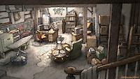 The basement/home office of Osborne Cox (John Malkovich).