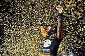 #19: Martin Truex Jr., Joe Gibbs Racing, Toyota Camry Bass Pro Shops celebrates his win