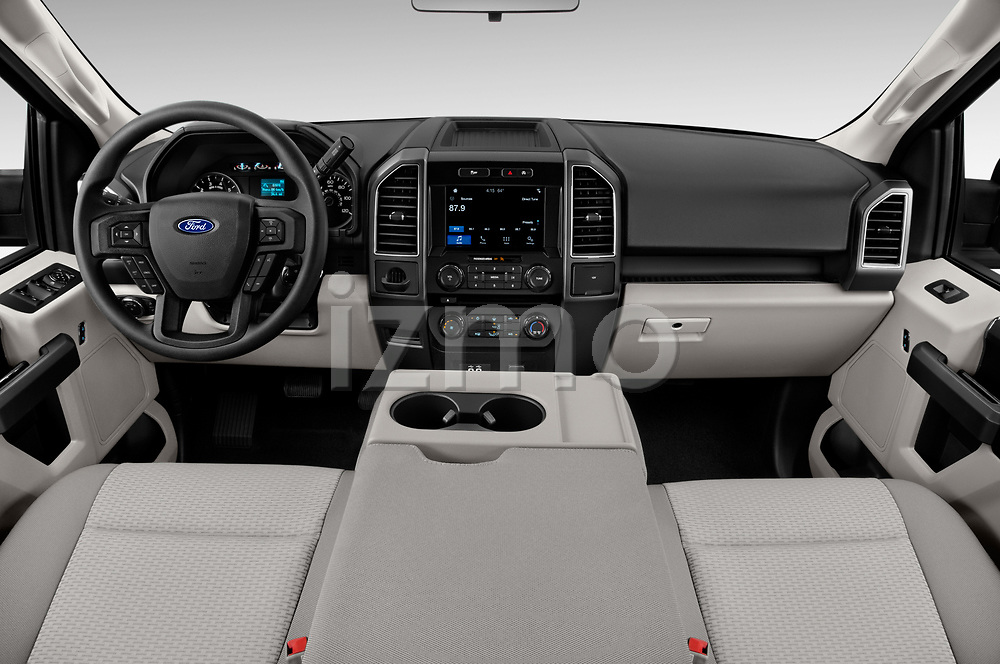 Stock photo of straight dashboard view of a 2018 Ford F-150 XLT SuperCab 6-1/2 Box 2 Door Pick Up