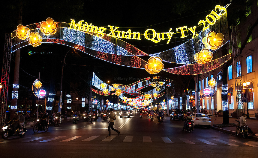 Night Street scene near Diamond Plaza Ho Chi Minh City VIetnam