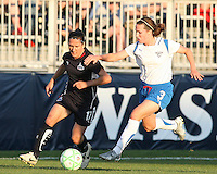 Lisa De Vanna #17 of the Washington Freedom breaks away from Kelly Schmedes #3 of the Boston Breakers during a WPS match at the Maryland Soccerplex, in Boyd's, Maryland, on April 18 2009. Breakers won the match 3-1.
