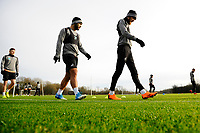 (L-R) Cameron Carter-Vickers and Oli McBurnie of Swansea City during the Swansea City Training at The Fairwood Training Ground, Swansea, Wales, UK. Tuesday 04 December 2018