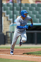 Jeison Guzman (7) of the Lexington Legends hustles down the first base line against the Kannapolis Intimidators at Kannapolis Intimidators Stadium on May 15, 2019 in Kannapolis, North Carolina. The Legends defeated the Intimidators 4-2. (Brian Westerholt/Four Seam Images)