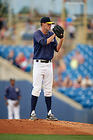 Lake County Captains starting pitcher Micah Miniard (32) looks in for the sign during the second game of a doubleheader against the West Michigan Whitecaps on August 6, 2017 at Classic Park in Eastlake, Ohio.  West Michigan defeated Lake County 9-0.  (Mike Janes/Four Seam Images)
