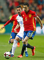 Spain's Sergio Busquets (r) and Israel's Daniel Einbinder during FIFA World Cup 2018 Qualifying Round match. March 24,2017.(ALTERPHOTOS/Acero) /NortePhoto.com