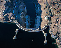 aerial photograph of Hoover Dam, Nevada, Lake Mead is full