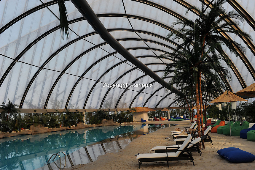 """The massive tented shopping complex has an indoor beach in the upper floors using sand imported from the Maldives in the newly built capitol of Kazakhstan, called Astana which translates as """"capitol"""" , 20th October 2010.<br /> <br /> PHOTO BY RICHARD JONES / SINOPIX"""