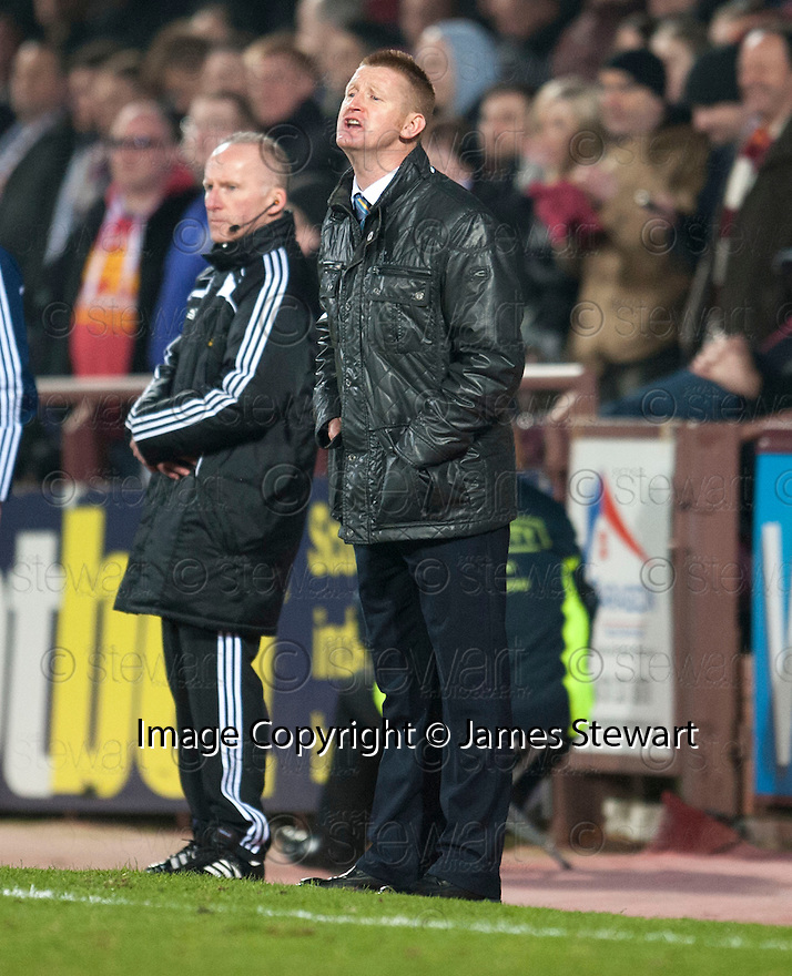 St Johnstone manager Steve Lomas shouts his instructions.