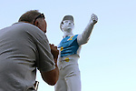 August 2, 2015. The colors of Zayat Stables are applied to the jockey statue near the winner's circle after American Pharoah, Victor Espinoza up, wins the  Grade I William Hill Haskell Invitational Stakes, one and 1/8 miles on the dirt  for three year olds at Monmouth Park in Oceanport, NJ. Bob Baffert is trainer; Ahmed Zayat is owner. Joan Fairman Kanes/ESW/CSM