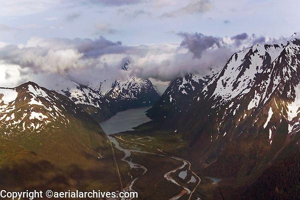 aerial photograph of Portage Lake and Portage Pass, Alaska